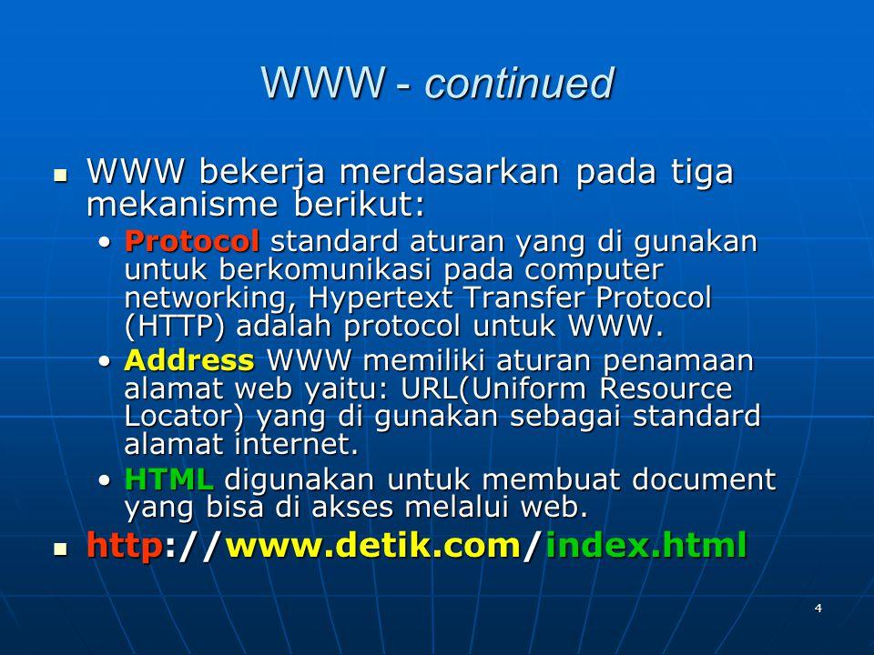 4 WWW - continued WWW bekerja merdasarkan pada tiga mekanisme berikut: WWW bekerja merdasarkan pada tiga mekanisme berikut: Protocol standard aturan yang di gunakan untuk berkomunikasi pada computer networking, Hypertext Transfer Protocol (HTTP) adalah protocol untuk WWW.Protocol standard aturan yang di gunakan untuk berkomunikasi pada computer networking, Hypertext Transfer Protocol (HTTP) adalah protocol untuk WWW.