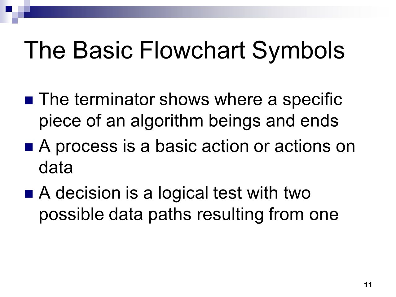 11 The Basic Flowchart Symbols The terminator shows where a specific piece of an algorithm beings and ends A process is a basic action or actions on d