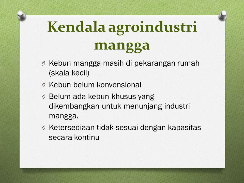 Kendala agroindustri mangga O Kebun mangga masih di pekarangan rumah (skala kecil) O Kebun belum konvensional O Belum ada kebun khusus yang dikembangkan untuk menunjang industri mangga.