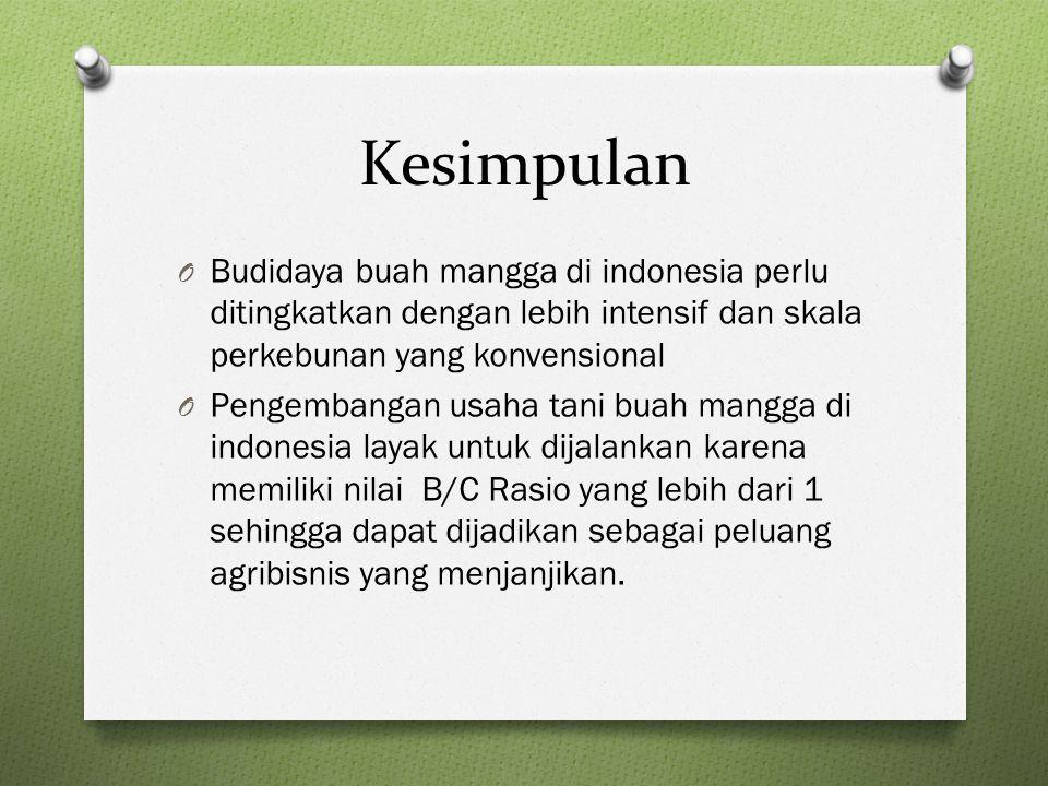 Kesimpulan O Budidaya buah mangga di indonesia perlu ditingkatkan dengan lebih intensif dan skala perkebunan yang konvensional O Pengembangan usaha tani buah mangga di indonesia layak untuk dijalankan karena memiliki nilai B/C Rasio yang lebih dari 1 sehingga dapat dijadikan sebagai peluang agribisnis yang menjanjikan.