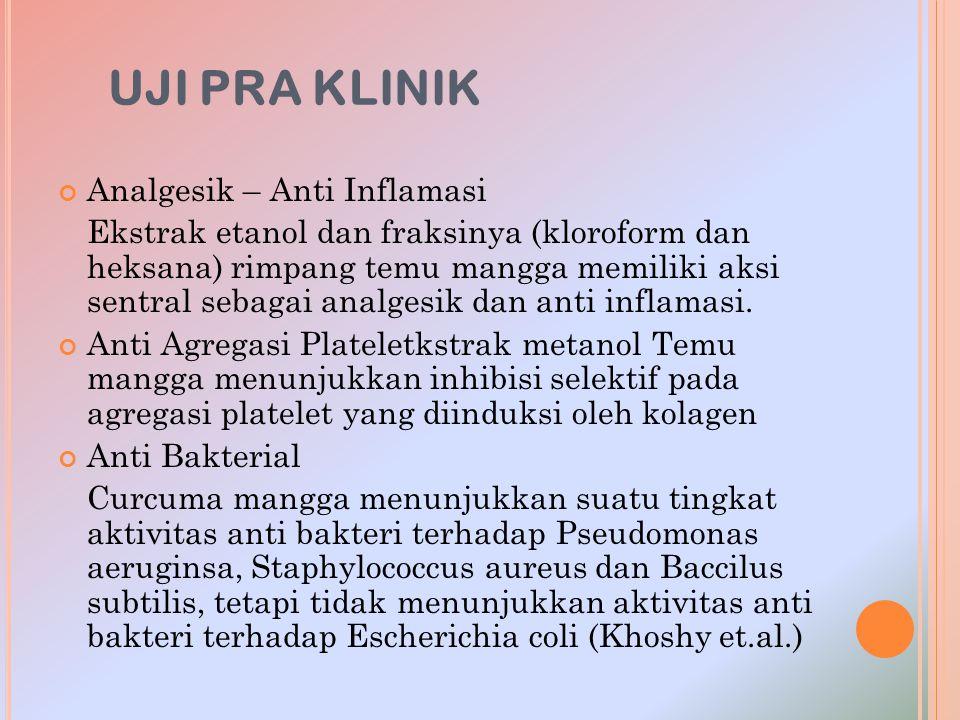 UJI PRA KLINIK Analgesik – Anti Inflamasi Ekstrak etanol dan fraksinya (kloroform dan heksana) rimpang temu mangga memiliki aksi sentral sebagai analg