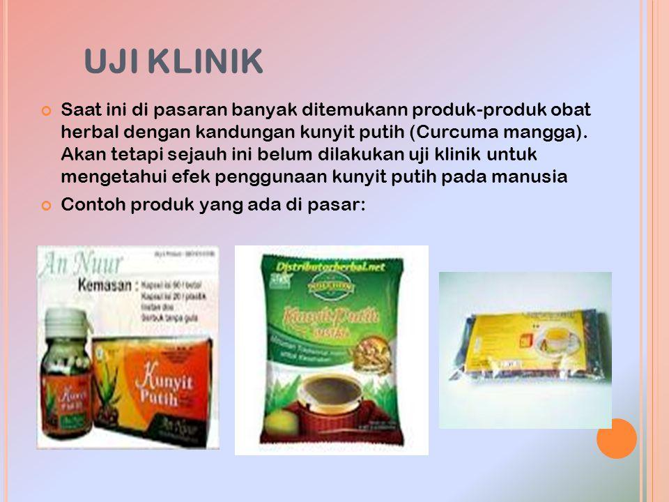 UJI KLINIK Saat ini di pasaran banyak ditemukann produk-produk obat herbal dengan kandungan kunyit putih (Curcuma mangga). Akan tetapi sejauh ini belu