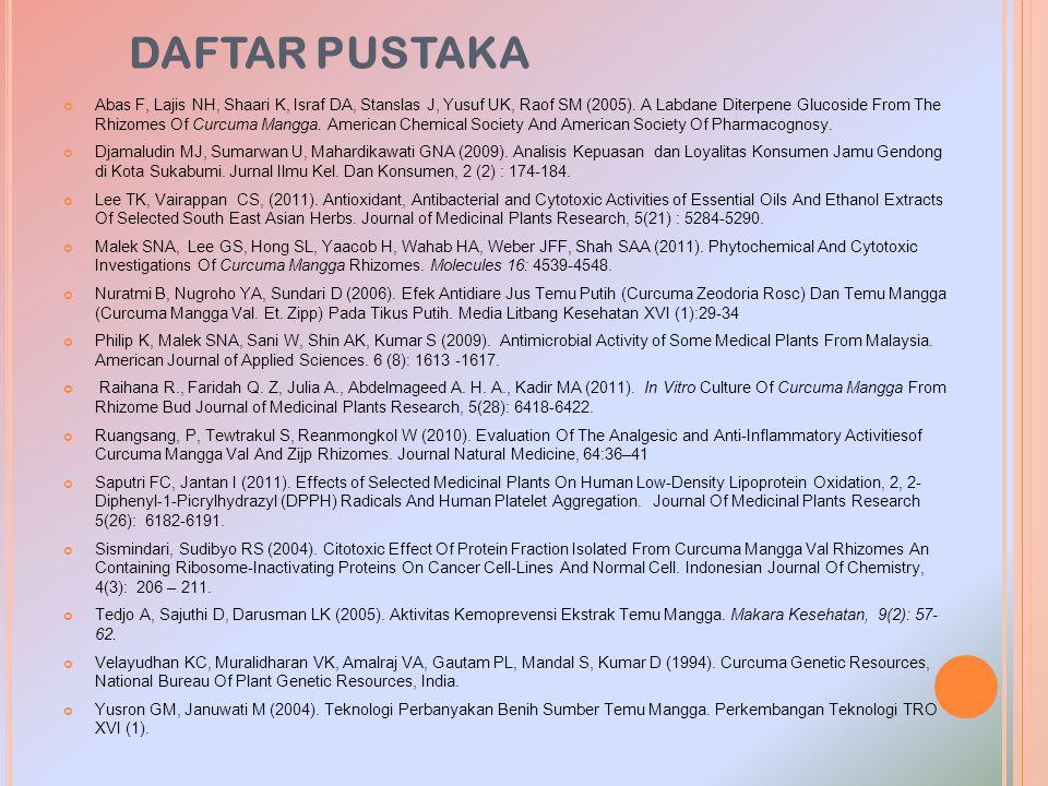 DAFTAR PUSTAKA Abas F, Lajis NH, Shaari K, Israf DA, Stanslas J, Yusuf UK, Raof SM (2005). A Labdane Diterpene Glucoside From The Rhizomes Of Curcuma