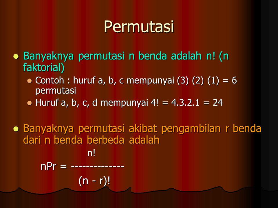 Permutasi Banyaknya permutasi n benda adalah n! (n faktorial) Banyaknya permutasi n benda adalah n! (n faktorial) Contoh : huruf a, b, c mempunyai (3)