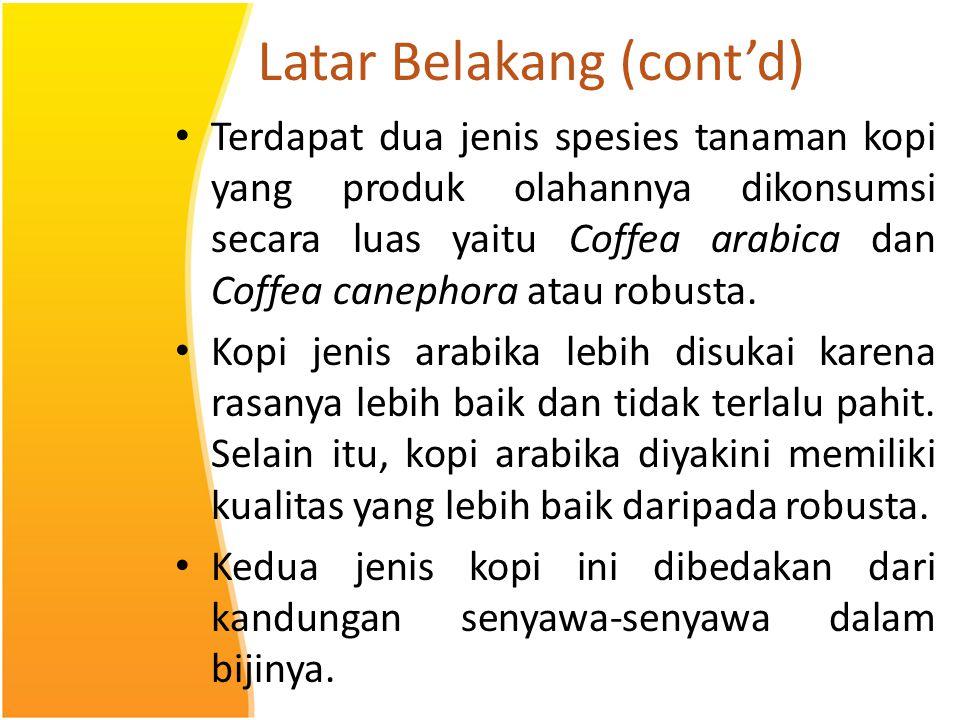 Latar Belakang (cont'd) Terdapat dua jenis spesies tanaman kopi yang produk olahannya dikonsumsi secara luas yaitu Coffea arabica dan Coffea canephora