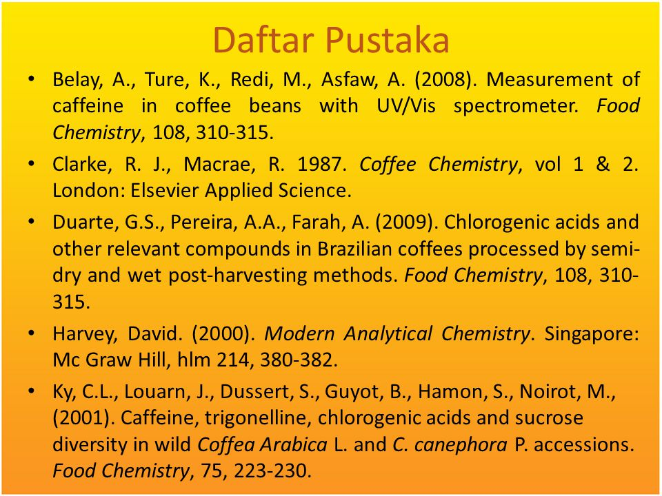 Daftar Pustaka Belay, A., Ture, K., Redi, M., Asfaw, A. (2008). Measurement of caffeine in coffee beans with UV/Vis spectrometer. Food Chemistry, 108,