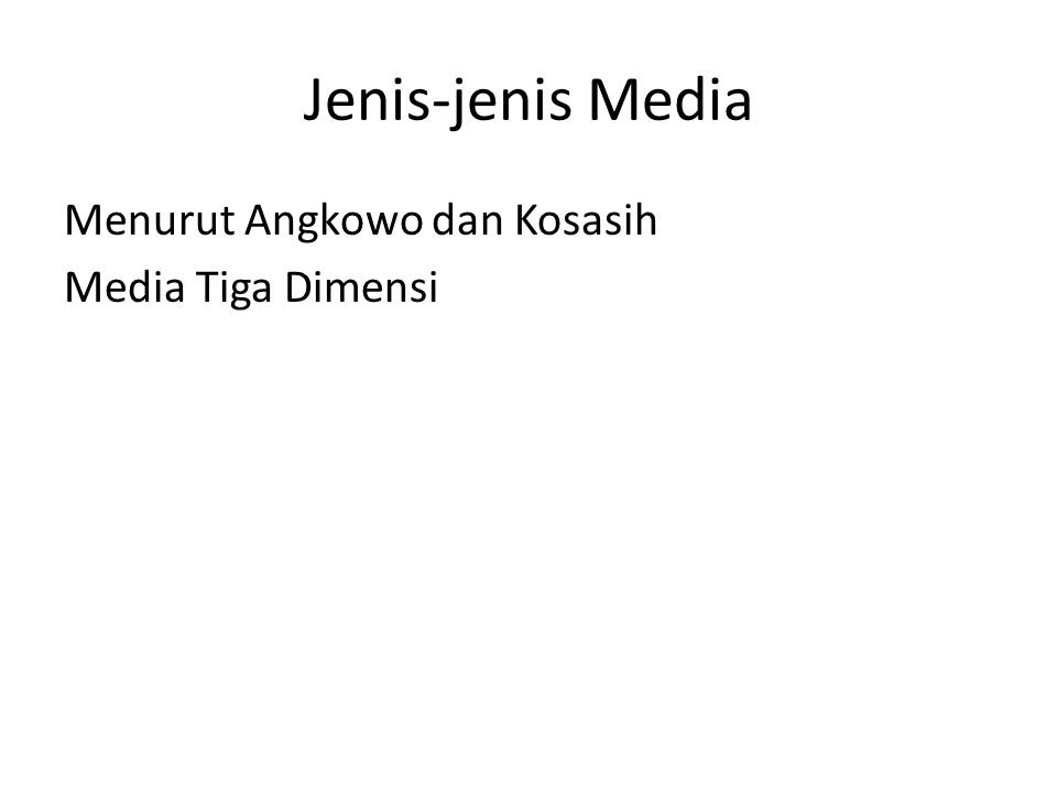 Jenis-jenis Media Menurut Angkowo dan Kosasih Media Tiga Dimensi
