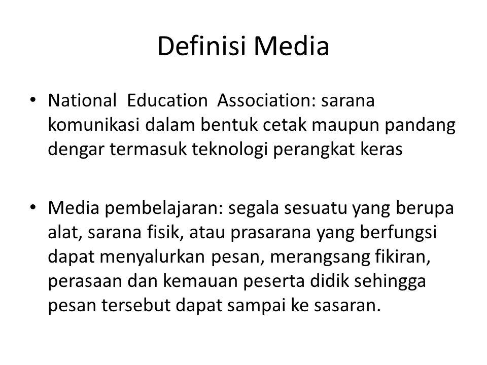 Definisi Media National Education Association: sarana komunikasi dalam bentuk cetak maupun pandang dengar termasuk teknologi perangkat keras Media pem