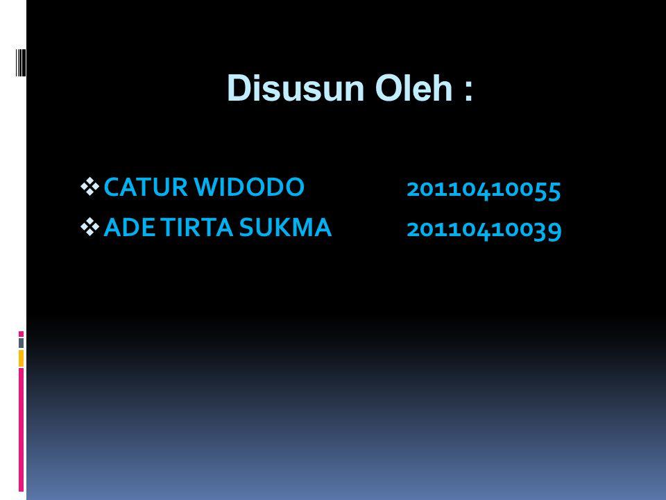 Disusun Oleh :  CATUR WIDODO20110410055  ADE TIRTA SUKMA20110410039