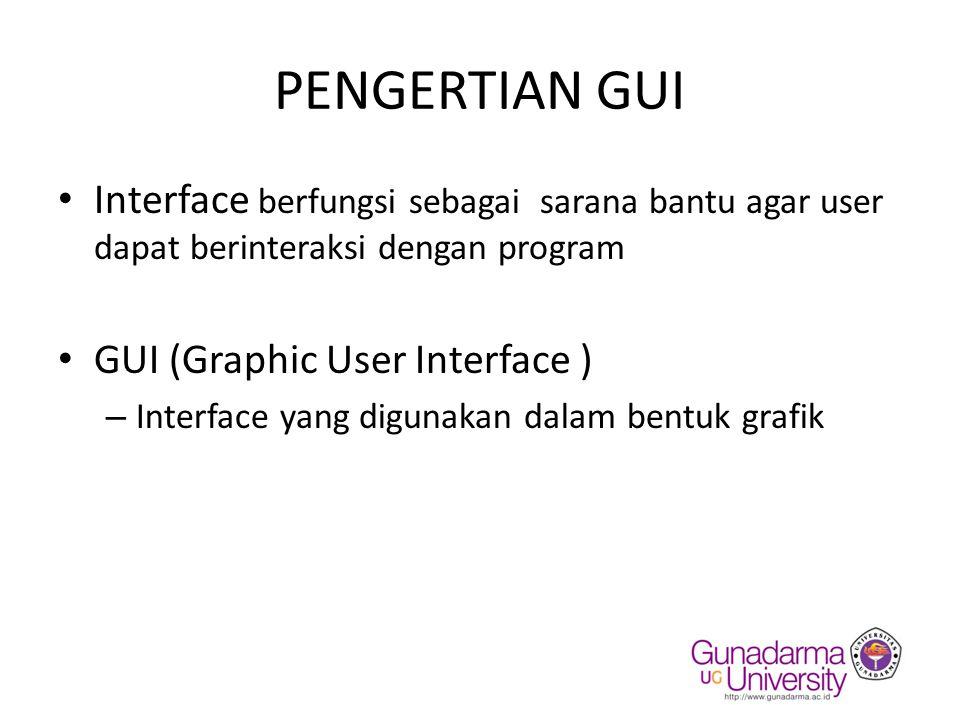 Istilah Penting pada GUI -Container -Komponen GUI -Event -Dialog -Layout -Menu
