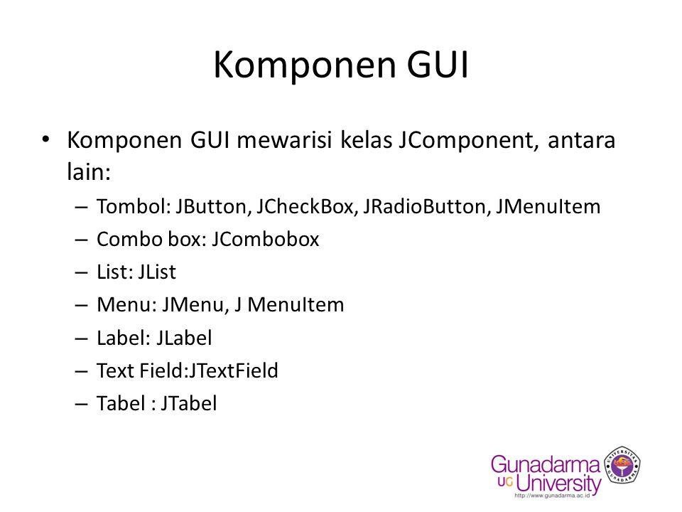 Komponen GUI Komponen GUI mewarisi kelas JComponent, antara lain: – Tombol: JButton, JCheckBox, JRadioButton, JMenuItem – Combo box: JCombobox – List: