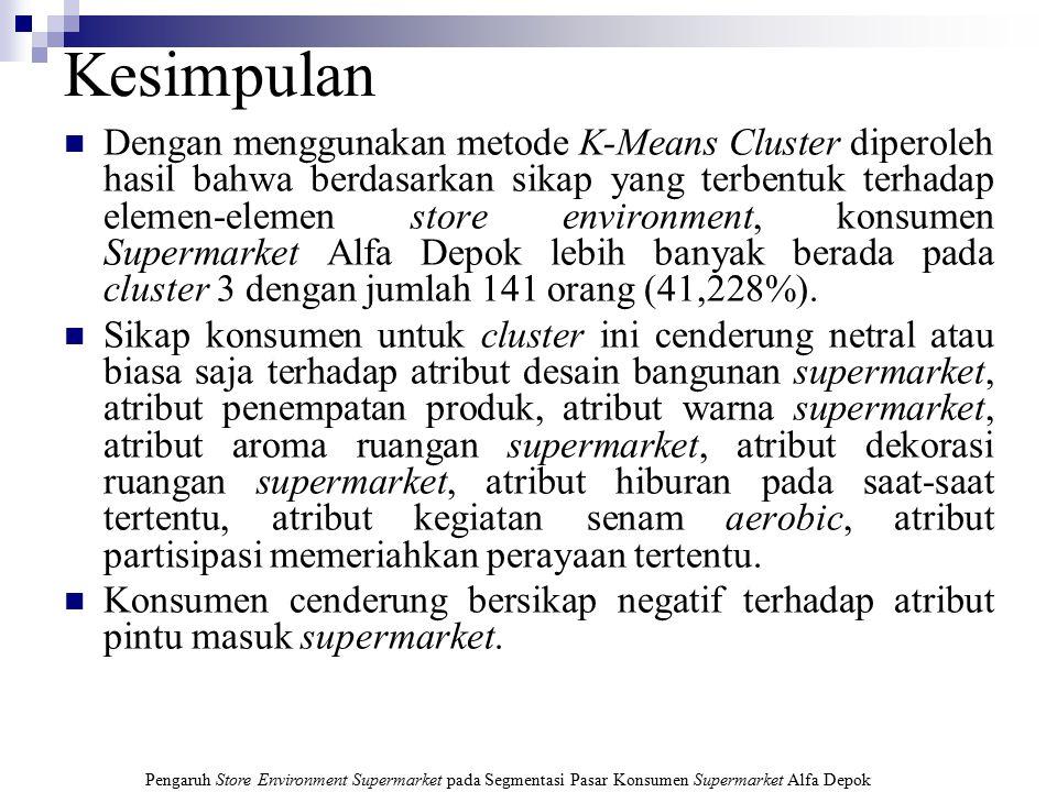 Pengaruh Store Environment Supermarket pada Segmentasi Pasar Konsumen Supermarket Alfa Depok Jumlah Responden Tiap Cluster Cluster123Total Responden11