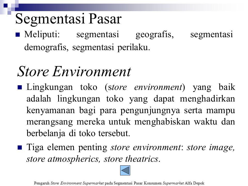 Pengaruh Store Environment Supermarket pada Segmentasi Pasar Konsumen Supermarket Alfa Depok Rumusan Masalah Bagaimana karakteristik segmentasi pasar