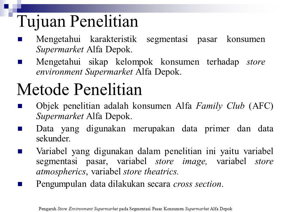 Pengaruh Store Environment Supermarket pada Segmentasi Pasar Konsumen Supermarket Alfa Depok Segmentasi Pasar Meliputi: segmentasi geografis, segmenta