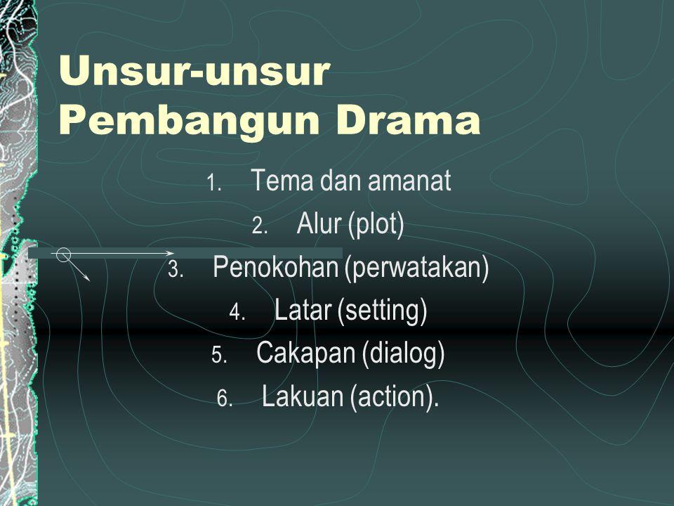Unsur-unsur Pembangun Drama 1. Tema dan amanat 2. Alur (plot) 3. Penokohan (perwatakan) 4. Latar (setting) 5. Cakapan (dialog) 6. Lakuan (action).