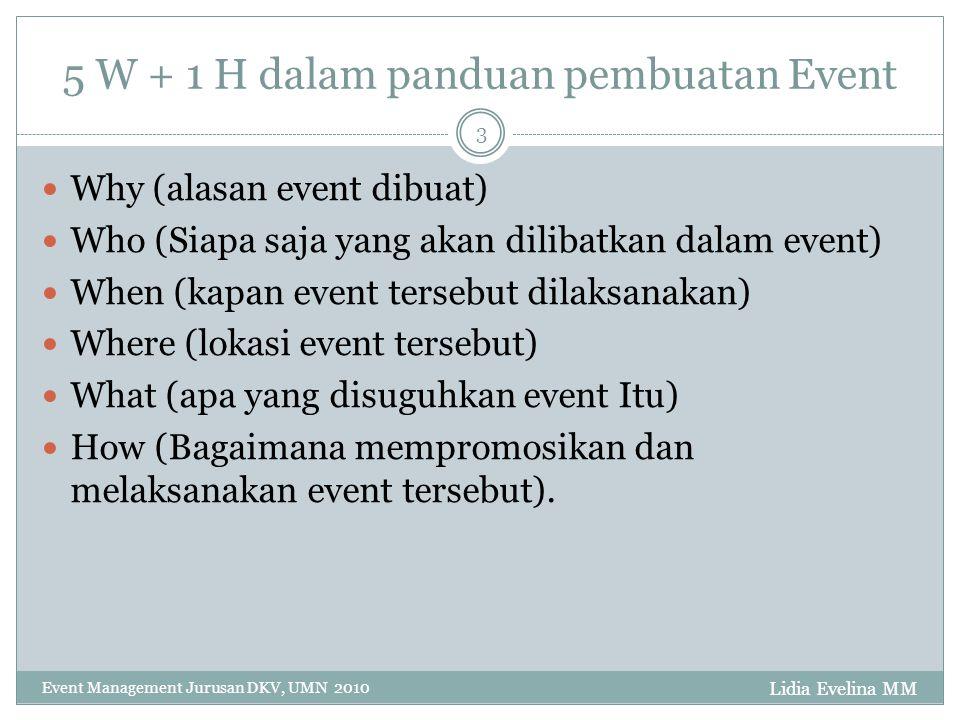 Lidia Evelina MM Event Management Jurusan DKV, UMN 2010 3 5 W + 1 H dalam panduan pembuatan Event Why (alasan event dibuat) Who (Siapa saja yang akan