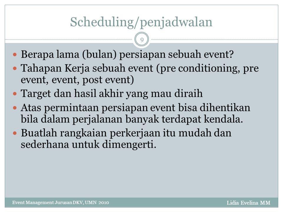 Lidia Evelina MM Event Management Jurusan DKV, UMN 2010 9 Scheduling/penjadwalan Berapa lama (bulan) persiapan sebuah event? Tahapan Kerja sebuah even