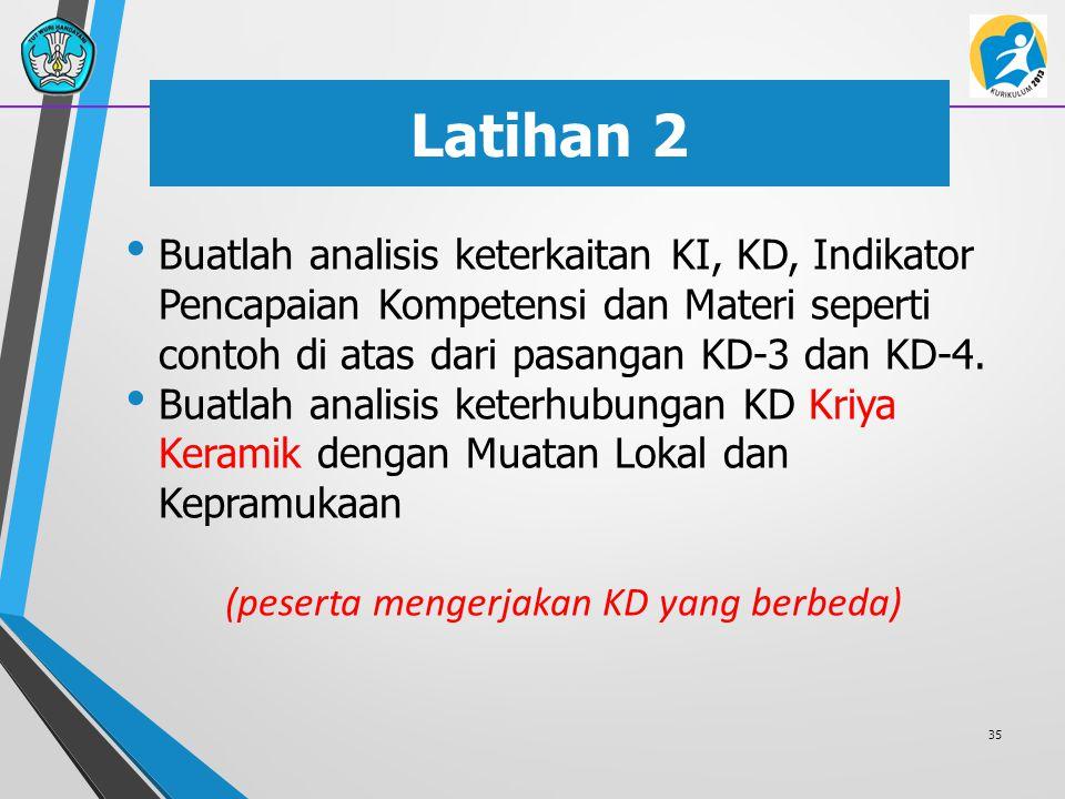 Latihan 2 Buatlah analisis keterkaitan KI, KD, Indikator Pencapaian Kompetensi dan Materi seperti contoh di atas dari pasangan KD-3 dan KD-4. Buatlah