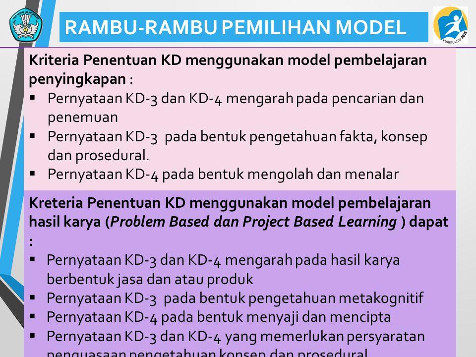 40 RAMBU-RAMBU PEMILIHAN MODEL Kriteria Penentuan KD menggunakan model pembelajaran penyingkapan :  Pernyataan KD-3 dan KD-4 mengarah pada pencarian