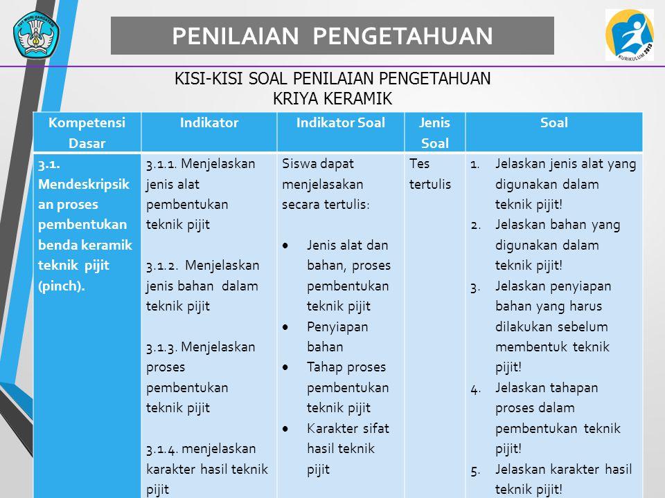 59 PENILAIAN PENGETAHUAN KISI-KISI SOAL PENILAIAN PENGETAHUAN KRIYA KERAMIK Kompetensi Dasar IndikatorIndikator Soal Jenis Soal Soal 3.1. Mendeskripsi