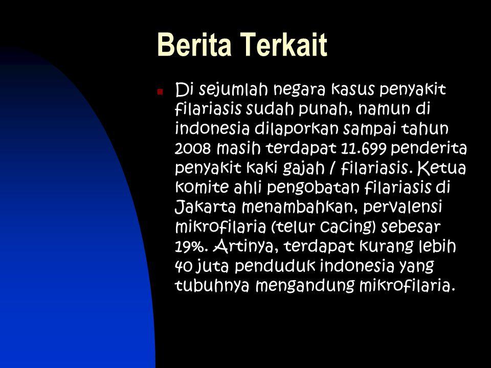 Berita Terkait Di sejumlah negara kasus penyakit filariasis sudah punah, namun di indonesia dilaporkan sampai tahun 2008 masih terdapat 11.699 penderi
