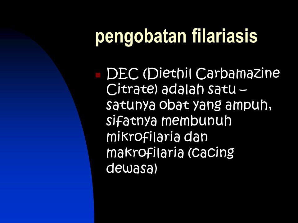 pengobatan filariasis DEC (Diethil Carbamazine Citrate) adalah satu – satunya obat yang ampuh, sifatnya membunuh mikrofilaria dan makrofilaria (cacing