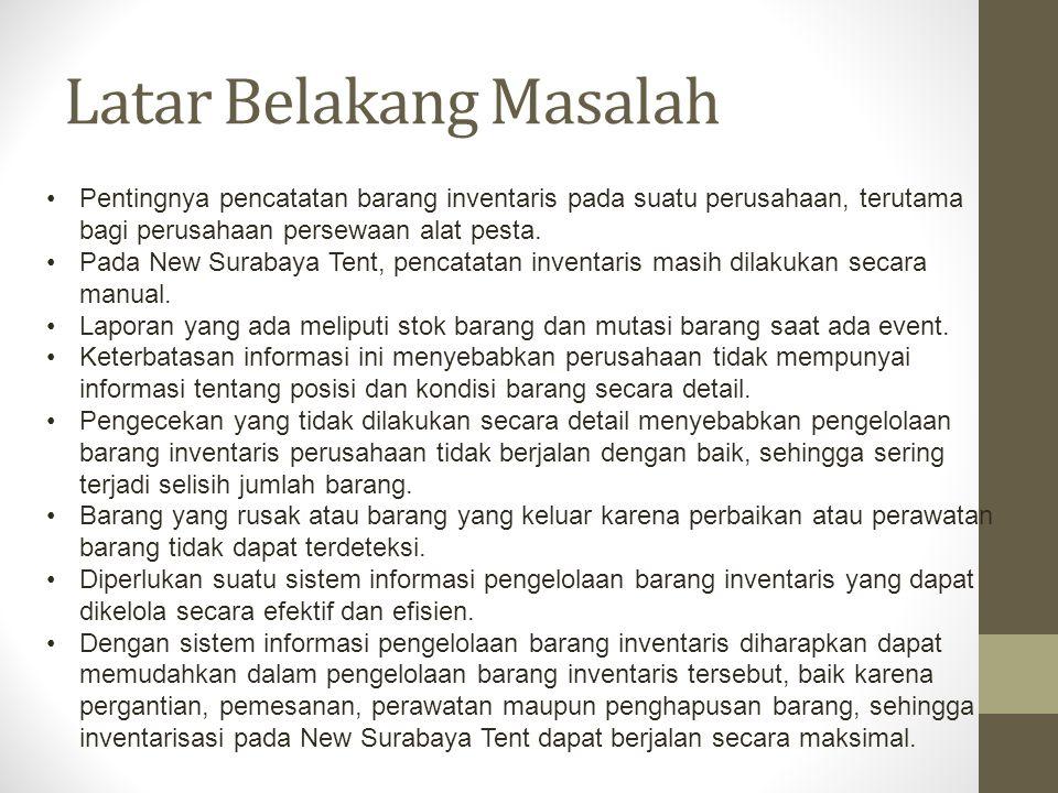 Perumusan Masalah Berdasarkan latar belakang diatas, didapatkan rumusan permasalahan, yaitu: Bagaimana membuat rancang bangun sistem informasi pengelolaan barang inventaris pada New Surabaya Tent