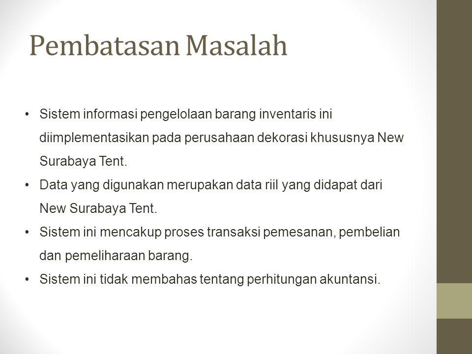 Tujuan Berdasarkan rumusan masalah di atas, maka tujuan dari dibuatnya sistem informasi ini adalah : Terbentuknya sistem informasi pengelolaan barang inventaris yang memudahkan pihak manajemen dalam mengelola inventaris New Surabaya Tent.