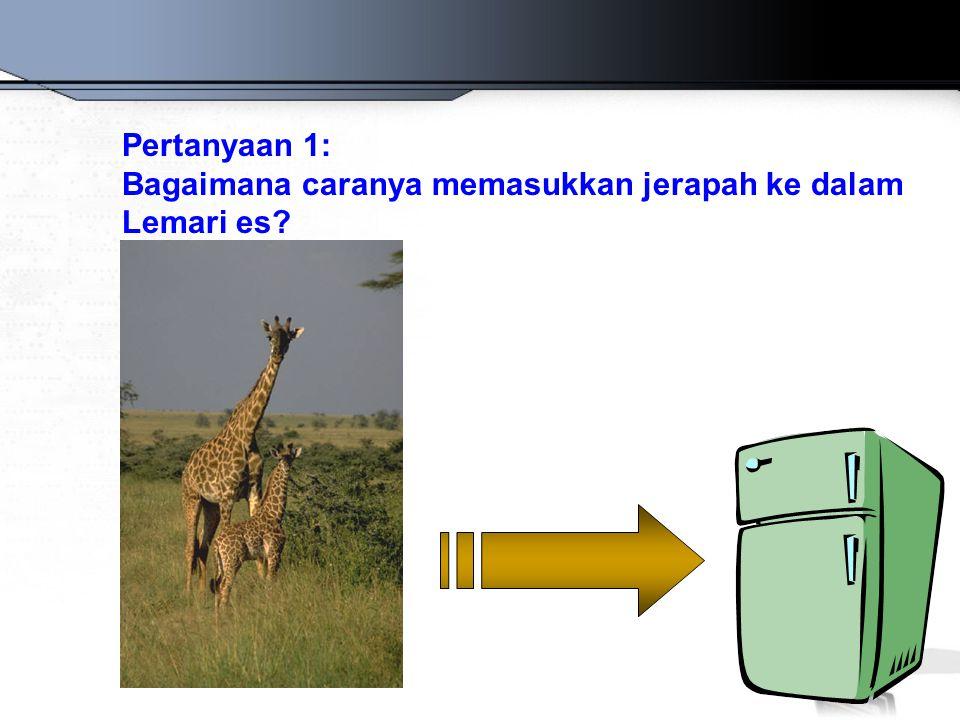 Pertanyaan 1: Bagaimana caranya memasukkan jerapah ke dalam Lemari es?