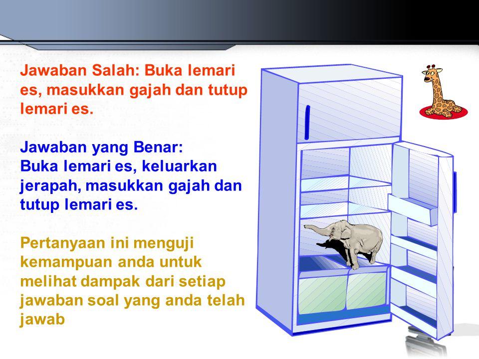 Jawaban Salah: Buka lemari es, masukkan gajah dan tutup lemari es. Jawaban yang Benar: Buka lemari es, keluarkan jerapah, masukkan gajah dan tutup lem