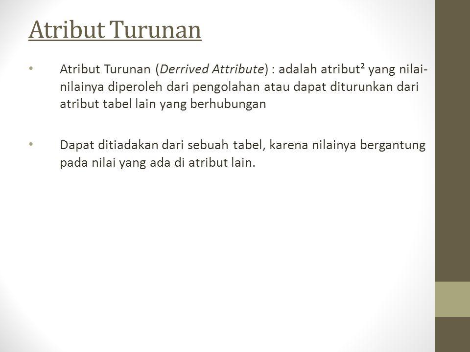Atribut Turunan Atribut Turunan (Derrived Attribute) : adalah atribut² yang nilai- nilainya diperoleh dari pengolahan atau dapat diturunkan dari atrib