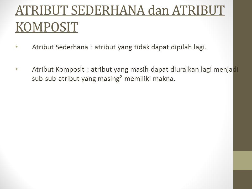 ATRIBUT SEDERHANA dan ATRIBUT KOMPOSIT Atribut Sederhana : atribut yang tidak dapat dipilah lagi. Atribut Komposit : atribut yang masih dapat diuraika