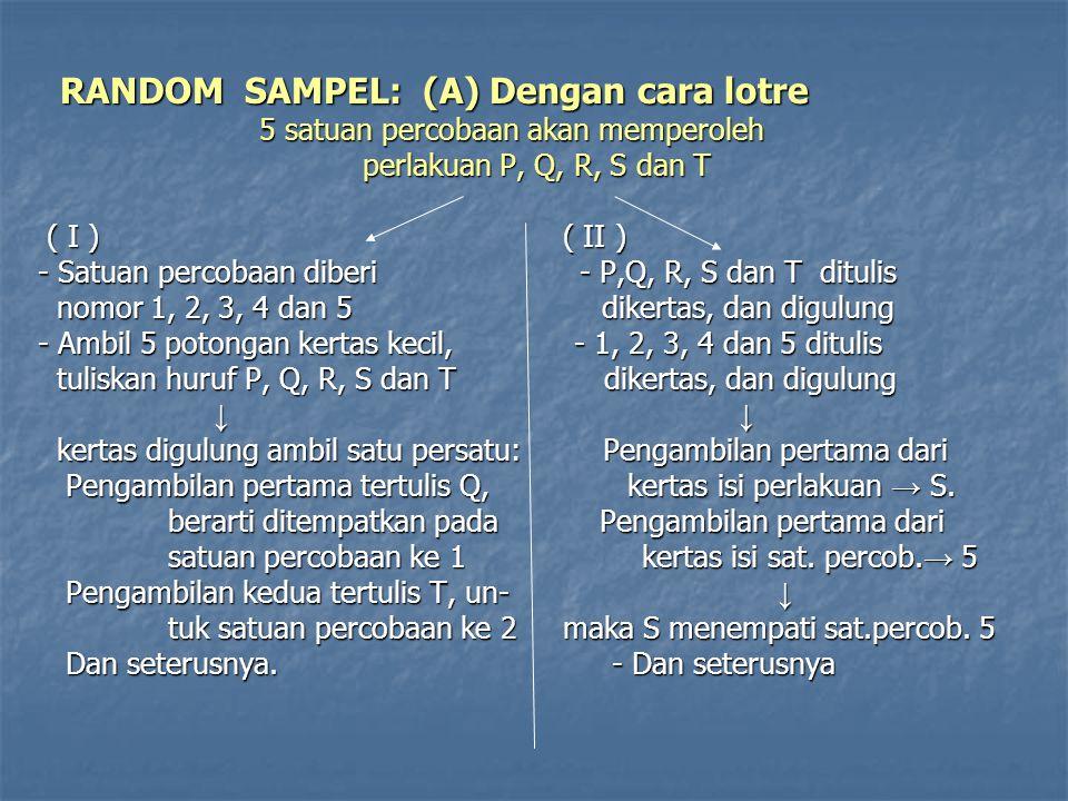 ( B ) Dengan tabel bilangan acak → (lebih dianjurkan) ( B ) Dengan tabel bilangan acak → (lebih dianjurkan) CONTOH: CONTOH: Suatu percobaan mendapat perlakuan A, B, C dan D Suatu percobaan mendapat perlakuan A, B, C dan D masing-masing diulang 5 kali masing-masing diulang 5 kali terdapat 4x5 = 20 satuan percobaan yang harus disediakan terdapat 4x5 = 20 satuan percobaan yang harus disediakan untuk: untuk: A 1 A 2 A 3 A 4 A 5 A 1 A 2 A 3 A 4 A 5 B 1 B 2 B 3 B 4 B 5 B 1 B 2 B 3 B 4 B 5 C 1 C 2 C 3 C 4 C 5 C 1 C 2 C 3 C 4 C 5 D 1 D 2 D 3 D 4 D 5 D 1 D 2 D 3 D 4 D 5 Cara penempatan perlakuan-perlakuan tersebut ke dalam Cara penempatan perlakuan-perlakuan tersebut ke dalam satuan-satuan percobaan adalah sbb.: satuan-satuan percobaan adalah sbb.: (a).