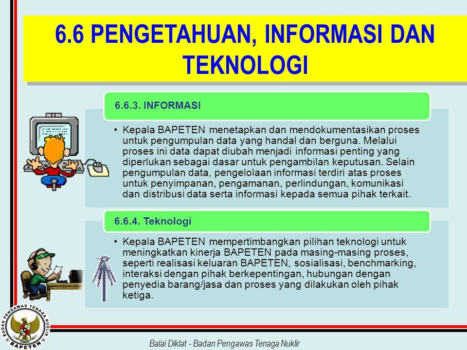 Balai Diklat - Badan Pengawas Tenaga Nuklir 6.6 PENGETAHUAN, INFORMASI DAN TEKNOLOGI Kepala BAPETEN menetapkan dan mendokumentasikan proses untuk peng