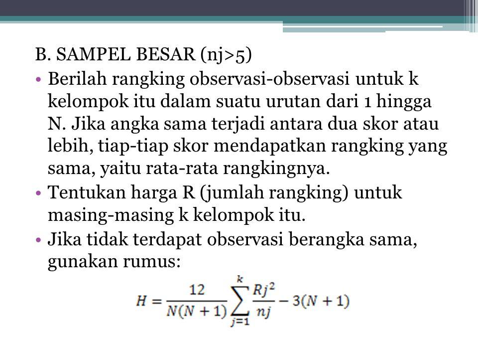 B. SAMPEL BESAR (nj>5) Berilah rangking observasi-observasi untuk k kelompok itu dalam suatu urutan dari 1 hingga N. Jika angka sama terjadi antara du