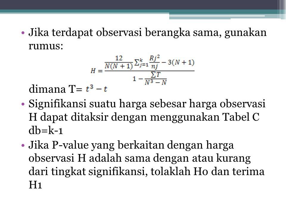 Jika terdapat observasi berangka sama, gunakan rumus: dimana T= Signifikansi suatu harga sebesar harga observasi H dapat ditaksir dengan menggunakan Tabel C db=k-1 Jika P-value yang berkaitan dengan harga observasi H adalah sama dengan atau kurang dari tingkat signifikansi, tolaklah Ho dan terima H1
