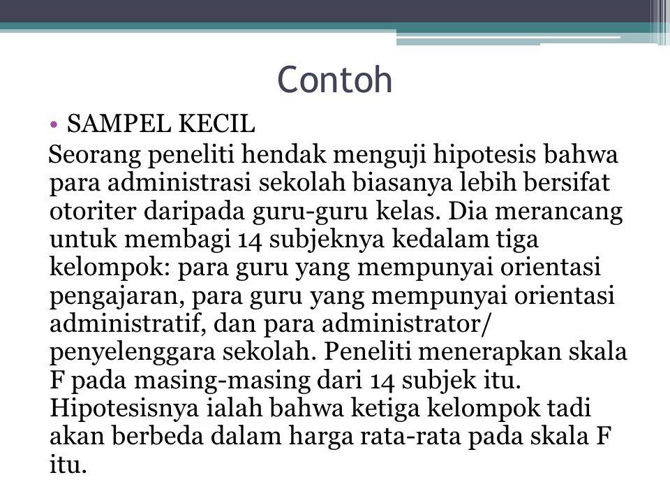 Contoh SAMPEL KECIL Seorang peneliti hendak menguji hipotesis bahwa para administrasi sekolah biasanya lebih bersifat otoriter daripada guru-guru kelas.