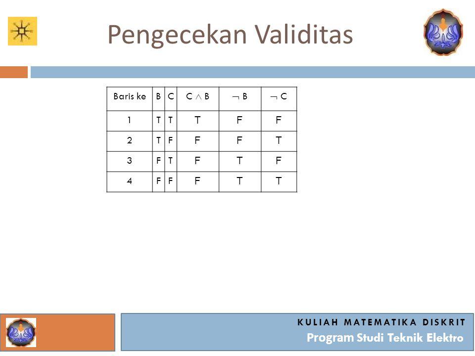 Pengecekan Validitas KULIAH MATEMATIKA DISKRIT Program Studi Teknik Elektro Baris keBC C  B  B B  C 1TT TFF 2TF FFT 3FT FTF 4FF FTT