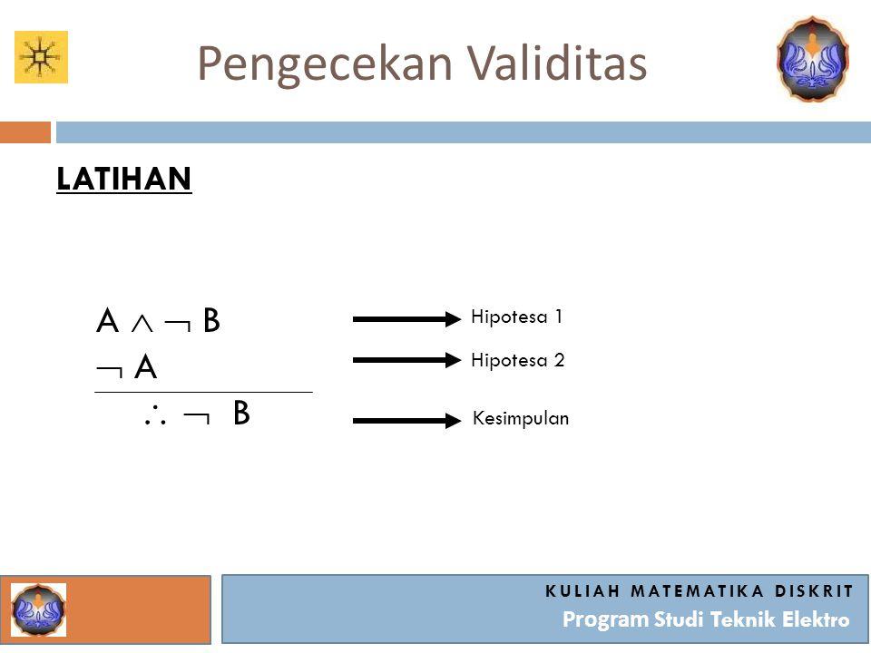 Pengecekan Validitas KULIAH MATEMATIKA DISKRIT Program Studi Teknik Elektro LATIHAN A   B  A   B Hipotesa 1 Hipotesa 2 Kesimpulan
