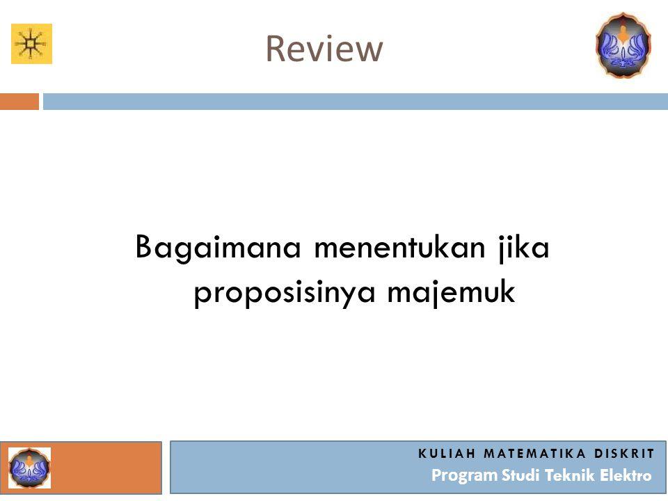 Review KULIAH MATEMATIKA DISKRIT Program Studi Teknik Elektro Bagaimana menentukan jika proposisinya majemuk