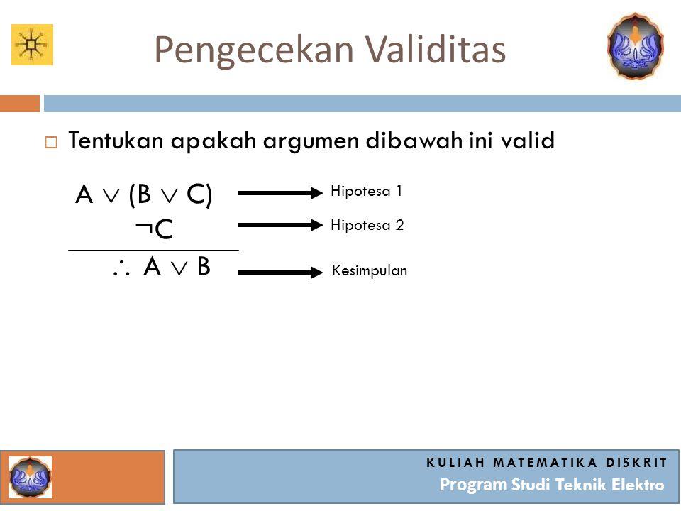 Pengecekan Validitas KULIAH MATEMATIKA DISKRIT Program Studi Teknik Elektro  Tentukan apakah argumen dibawah ini valid A  (B  C) ¬C  A  B Hipotesa 1 Hipotesa 2 Kesimpulan