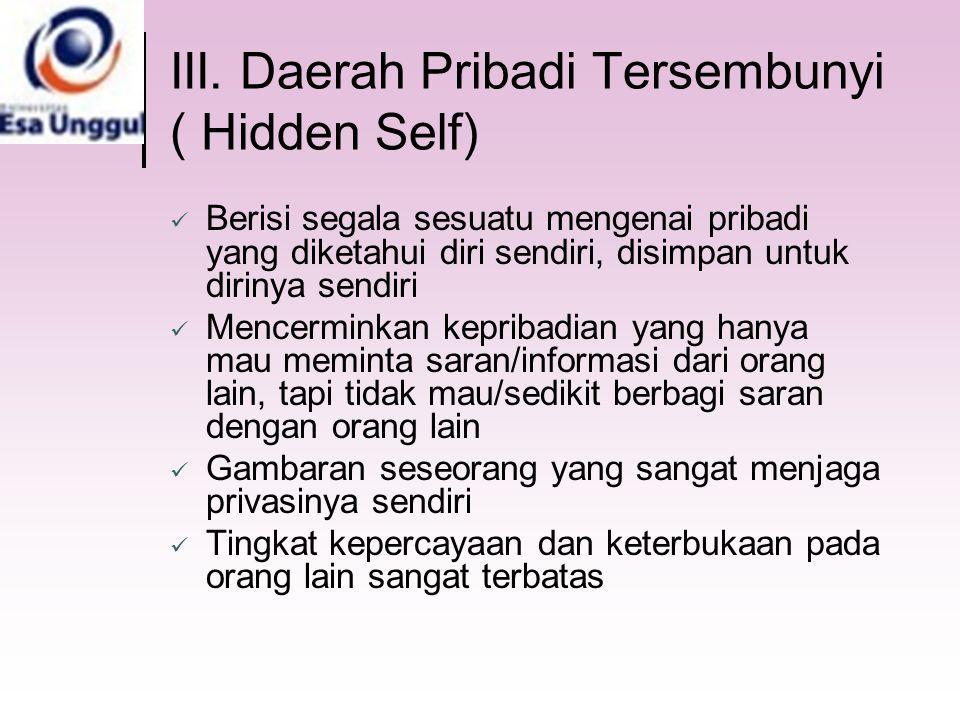III. Daerah Pribadi Tersembunyi ( Hidden Self) Berisi segala sesuatu mengenai pribadi yang diketahui diri sendiri, disimpan untuk dirinya sendiri Menc