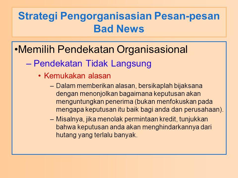 Strategi Pengorganisasian Pesan-pesan Bad News Memilih Pendekatan Organisasional –Pendekatan Tidak Langsung Kemukakan alasan –Dalam memberikan alasan,