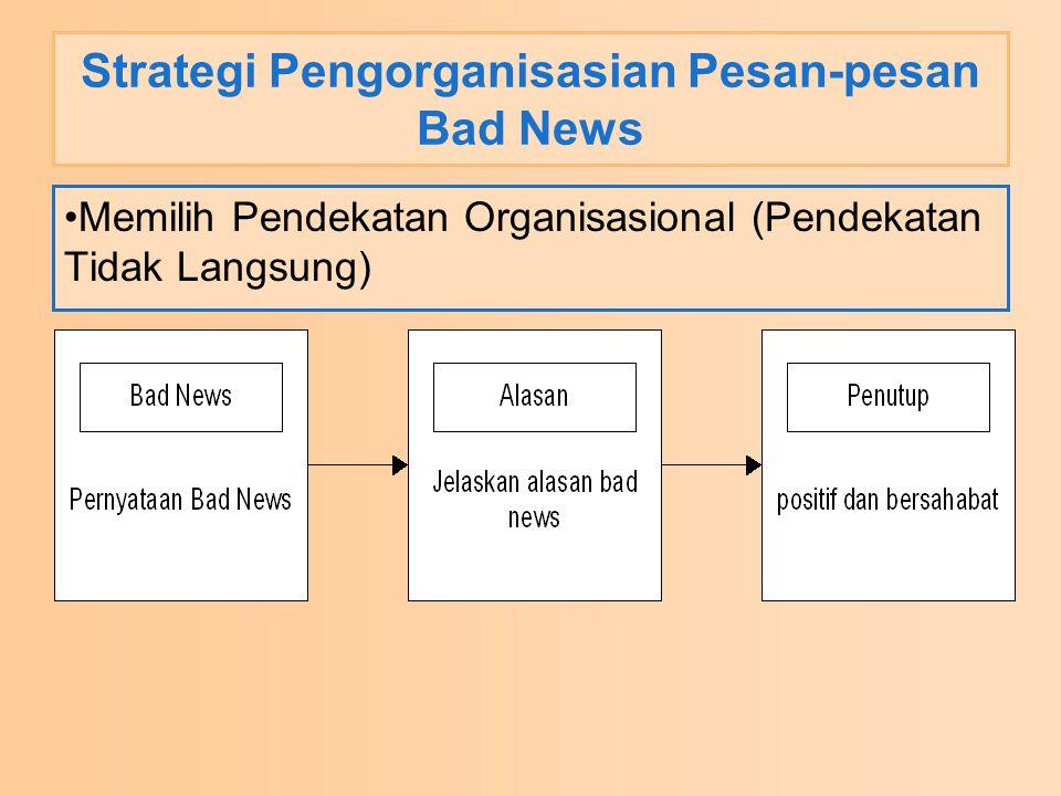 Strategi Pengorganisasian Pesan-pesan Bad News Memilih Pendekatan Organisasional (Pendekatan Tidak Langsung)