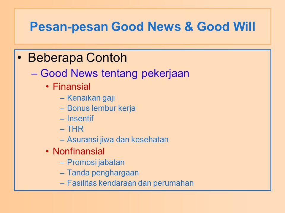 Pesan-pesan Good News & Good Will Beberapa Contoh –Good News tentang pekerjaan Finansial –Kenaikan gaji –Bonus lembur kerja –Insentif –THR –Asuransi j