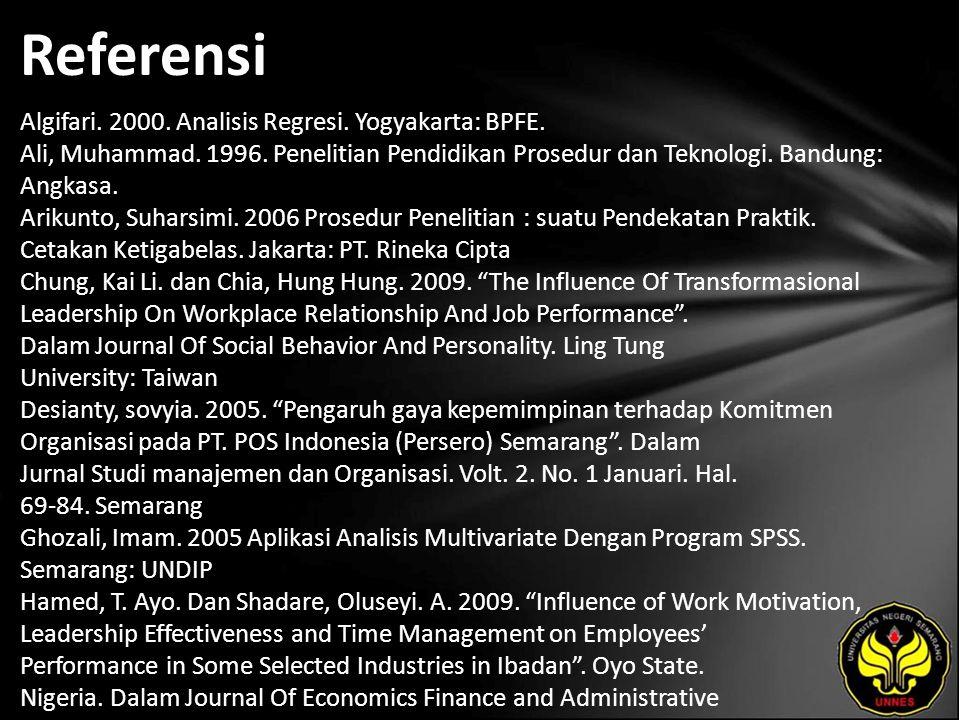 Referensi Algifari. 2000. Analisis Regresi. Yogyakarta: BPFE.