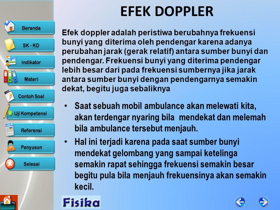 INDIKATOR 4/9/2015 Mendefinisikan pengertian efek Doppler Merumuskan persamaan efek Doppler Menerapkan persamaan efek Doppler dalam kehidupan sehari-hari