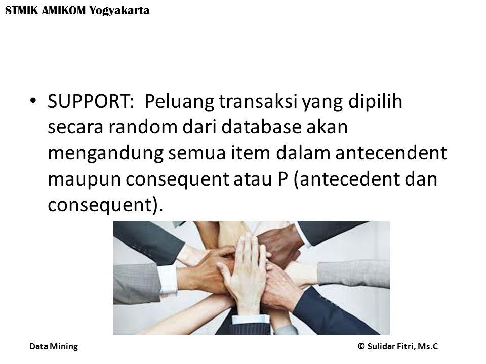 Data Mining © Sulidar Fitri, Ms.C STMIK AMIKOM Yogyakarta SUPPORT: Peluang transaksi yang dipilih secara random dari database akan mengandung semua item dalam antecendent maupun consequent atau P (antecedent dan consequent).