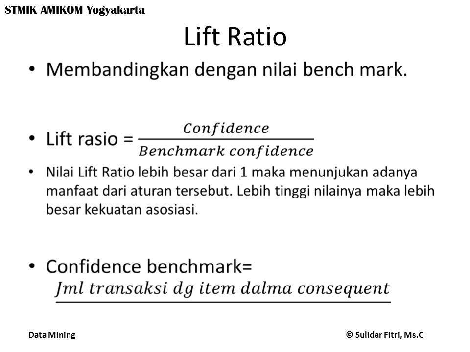 Data Mining © Sulidar Fitri, Ms.C STMIK AMIKOM Yogyakarta Lift Ratio