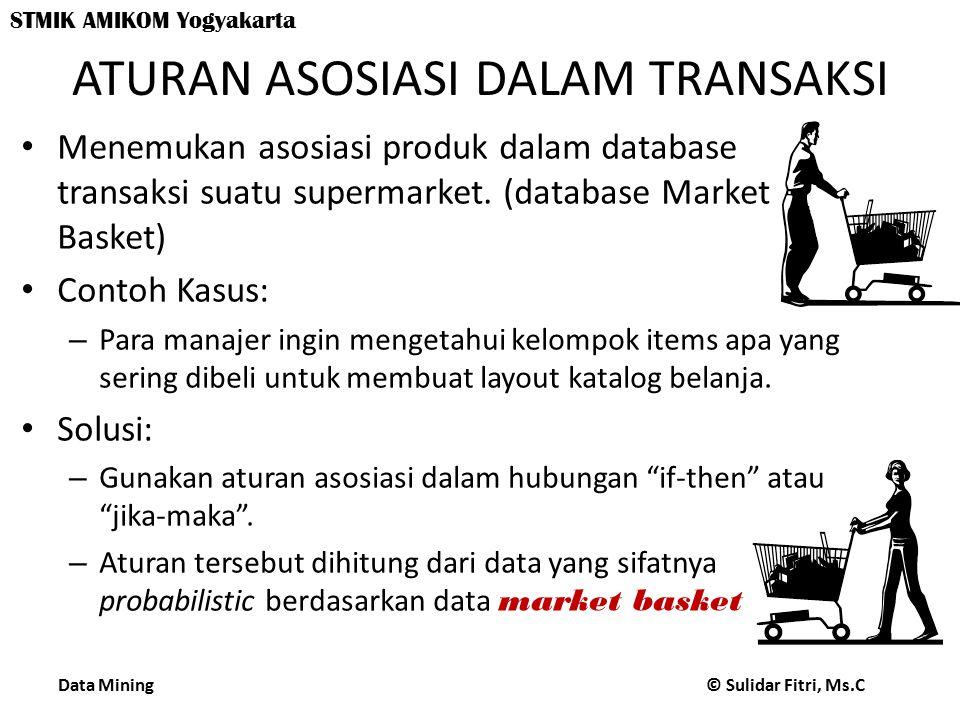 Data Mining © Sulidar Fitri, Ms.C STMIK AMIKOM Yogyakarta ATURAN ASOSIASI DALAM TRANSAKSI Menemukan asosiasi produk dalam database transaksi suatu supermarket.